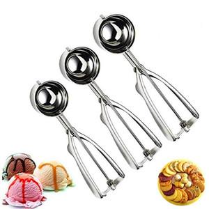 Acero inoxidable cucharadas de helado de frutas Galletas bola redonda Maker cuchara de helado Herramientas La Barra de Herramientas de cocina Accesorios HHA1469