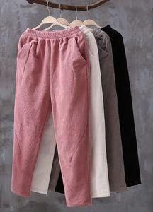 Neploe% 100 Pamuk Kadife Harem Pantolon Sonbahar Kış Elastik Yüksek Bel Kadınlar Pantolon Artı boyutu S-5XL Ayak bileği uzunlukta pantolon 54596 V191019