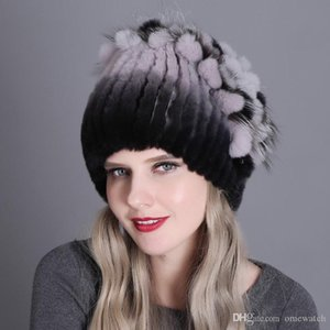 Women Designer Hats Europe and the United States Warm Fashion Thick Wool Hats Rex Rabbit Fur Hat Knitted With Side Caps