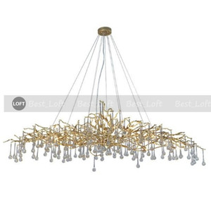 Lighting Artistic Branches Crystal Chandeliers Light Water Drops Chandelier Light Colored Glazed Salon Copper Chandelier