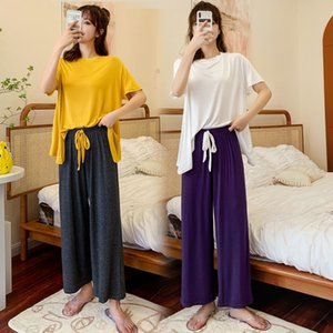 Contrast color online celebrity home clothes Modeer female Korean casual round collar short pajamas pajamas sleeve suit soft trousers