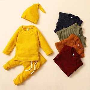 Spring Autumn Clothes Newborn Solid Knitting Clothing Sets Long Sleeve Tops+Pants+Hat 3pcs set Baby Outfits Infants knitted Clothes Z1189