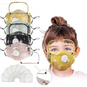 Masks kid's Face Mask with Shield Removable Washable Reusable Clear Mask PM2.5 Dustproof Cotton Face Mouth Mask With 2psc Filter LSK517