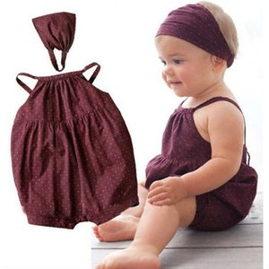 Summer Baby Girl Romper Deep Red Round Dots Harnesses and Headband Newborn Baby Girl Clothes Infant Toddler Clothing Outfits