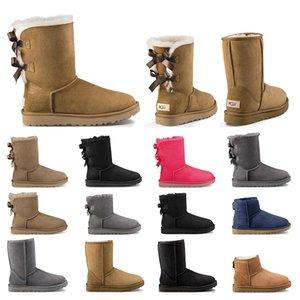 2020 Nouvelle Australie femmes fille classique bottes de neige cheville court arc fourrure botte pour l'hiver noir châtaigne femmes chaussures taille 36-41 mode en plein air