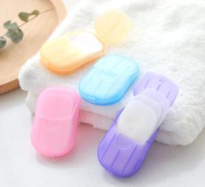 20pcs / Set jetable Boxed Savon papier pour les mains Aromathérapie Portable Bain Mini Voyage boîte à savon savon base de bain Accessoires