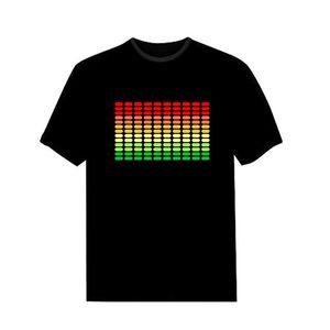 RUELK 2020 Vente son actif LED T-shirt Light Up et vers le bas clignotant Equalizer EL T-shirt Homme pour Rock Disco Party DJ T-shirt