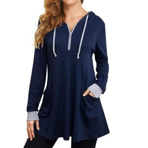 Women's Thin Tunic Hoodies Long Sleeve Zip Up Sweatshirts Plus Size Pullover Blouse Tops With Pocket For Female Streetwear