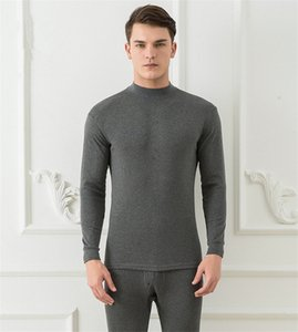 Solid Color Mens Thermal Underwear Slim Warmth Round Neck Winter Mens Designer Underwear Long Sleeve Mens 2PCS