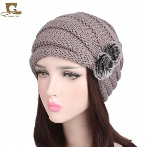 New women's wool hat rabbit fur ball pile Hair pullover pullover cap scarf cap MXM-103B