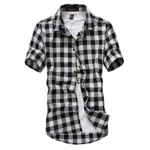 2020 nuevo de la manera camisa de tela escocesa ocasional de los hombres de manga corta de cuello alto camisa Chemise Homme hombres de la vendimia Ropa