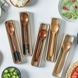 Natural Fashion viagem Colher de madeira utensílios de mesa portátil Mini encantadoras pauzinhos de madeira Conjuntos de talheres portátil boxT2I5911