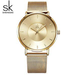 Shengke Women Bracelet Watches Luxury Gold Female Quartz Watch Reloj Mujer 2019 SK Ladies Watches Christmas Gift #K0059 CX200720