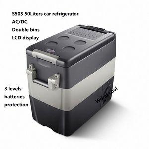 50L AC / Car DC12V24V Frigorifero auto Freezer più fresco di campeggio portatile Mini Frigo compressore Frigorifero Fridge rRZW #