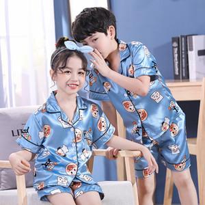 2020 New childrenÞs pajamas Satin Silk Pajamas Set Kids Baby Boy Girl Clothes Summer Short Sleeve Tops +Shorts cartoon Sleepwear