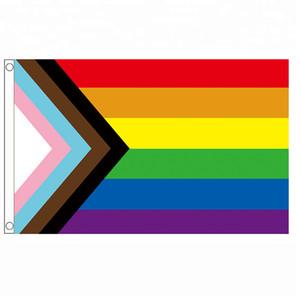 Бесплатная доставка Aerlxemrbrae Радуга флаг 150X90CM Баннер Полиэстер прокладками LGBT Gay Pride радуги Прогресс флаг