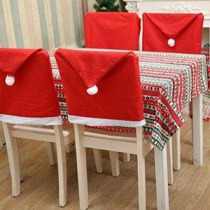 Noel Sandalye Odası Dekor Dokumasız Parti Noel Dekorasyon Sandalye Kapak KKA7983-1 Yemek Red Santa Hat Sandalye Örtüleri