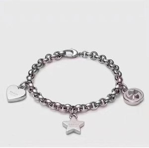 Luxurious style S925 Sterling Silver pendant Bracelet with round hollow and heart and star style for women wedding gift jewelry PS5264