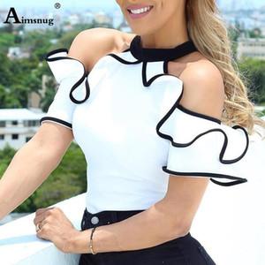 Verão Mulheres elegante Lazer Casual Top Ladies mangas gola shirt Contraste Encadernação Ruffles guarnição Blusa branca S-5XL