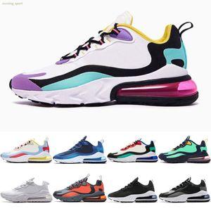 Nike Air Max 270 React Homens Mulheres Reagir Jade Bauhaus violeta brilhante Hiper-de-rosa Armaduras Off Summit Noir branco americano azuis Branco Moderno Vácuo Running Shoes