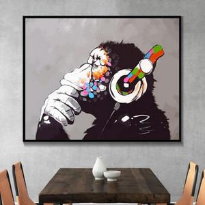 Обезьяна с наушниками Wall Art Canvas Картина граффити Street Art Animal Плакат и распечаток персонализированный Mural Wall Picture Home Decor