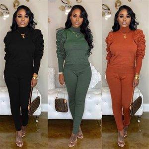 Kadın Yığın Tracksuits Kış Sonbahar Yüksek Yaka Uzun Kollu İnce İki adet Casual Tasarımcı Kadın 2PCS Kıyafetleri ayarlar