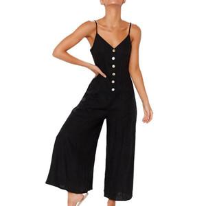 Femmes d'été Bouton en vrac vers le bas Sling longues Camisoles Combinaisons Sexy Ladies manches Salopette Barboteuses Pantalon large jambe Overol