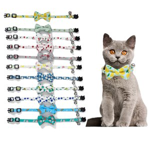 10Pcs pack Cat Collar with Detachable Bowtie Fruit Pringted Cute Pet Collars with Little Jingle Bells for Kittens Cats Pet Accessories