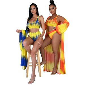 Two Piece Swimsuit Swimear With Long Sleeve Coat Cloak 2020 New Arrival Colorful Print Sexy Beach Cover Ups Stylish Bathing Suit