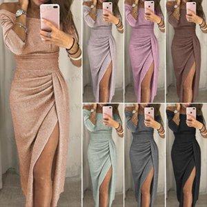 Женская коктейль Асимметричный партия с длинным рукавом Bodycon Clubwear Длинные Сплит платье Размер 6 16 Drop Доставка