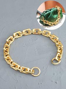 Alta calidad de oro bolsa de la vendimia cadena de manejar bolsa de hombro llavero Grueso mujeres de la cadena del bolso de hombro material de resina correas