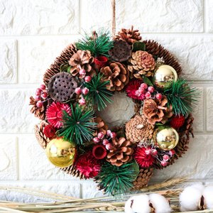 navidad Rustic Door dried wreath Natural Pine Cones vintage Dried florals decor Wreaths Winter New Year Home Decoration Accessor