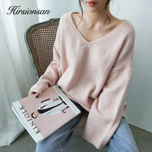 Hirsionsan Outono Inverno Nova Sweater Mulheres 2020 Macio Vintage camisola coreana Tops Sólidos Casual malha capuz V Neck Cashmere