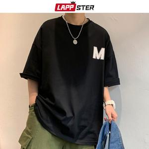 LAPPSTER Uomini Harajuku M stampa della maglietta di estate Tees 2020 Fashions Mens Nero coreano divertente Top magliette giapponese Streetwear Abbigliamento