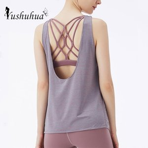 Fake two pcs women's inner padded Yoga Top woman sports vest fitness running shirt Gym workout clothes Cross back Yoga Tank Tops