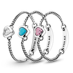 Autêntica prata esterlina 925 coração azul-de-rosa Spirited Cadeia Anel Designer Luxury Jewelry Mulheres CZ Pedras Diamond Rings com Pandora Box