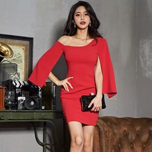 Club Wear for Women Solid Wrap Bodycon Birthday Dress Ladies Sexy Red Dress for Wedding Party One-shoulder Mini Dress Plus Size T200710