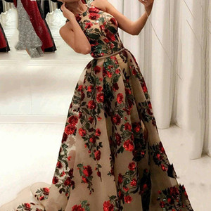 2020 New Strapless Embroidered Sequin Floral Evening Dress Jewel Neck Split Champagne Sexy Formal Prom Evening Gowns With Detachable Train