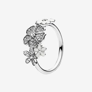 Authentisches 925 Sterlingsilber-Blumen-Ring-Frauen-Mädchen-Sommer-Schmucksachen für Pandora Funkelnde Blume Daisy Bouquet Ringe mit ursprünglichem Kasten