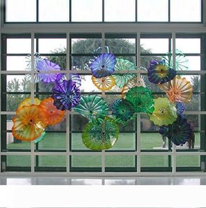 Hot Sales Hand Blown Glass Wall Art Plates Murano Glass Mediterranean Style Plates for Wall Hanging Hotel Home Bar Decoration