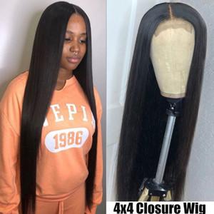 26 pollici parrucca di capelli umani HD transparrnt pizzo lunga parrucca di Remy per le donne 4X4human nero capelli merletto diritto Chiusura parrucca PrePlucked