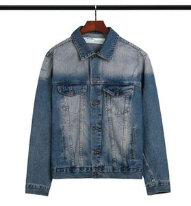 OFF 20SSOW European and American tide brand basic slogan warning line tape letter arrow washed washed old denim jacket jacket
