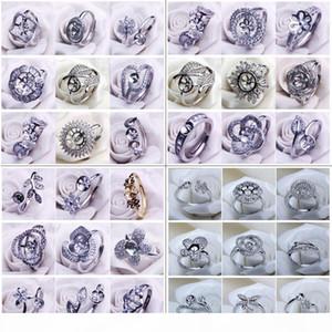 NEW ювелирных изделий DIY кольцо Настройка Pearl Ring 4 набора циркона 925 Настройки Серебряного кольца для женщин Подходят для Pearl Регулируемого размера свадьбы
