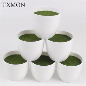 Redondo blanco Maceta De Plástico Plantas Vase simples Moderna maceta con espuma floral Accesorios Arreglo