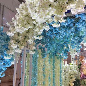 Beautiful Artificial Cherry Blossoms Branch Flower Silk Wisteria Vines for Home Wedding Decoration Flower Bouquet EEA993-1