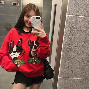 Red pullover Dog year heavy industry cross stitch flower puppy short loose pullover sweater female F0143