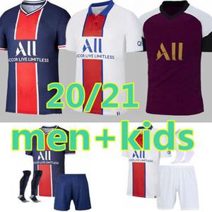 NEW ADULT kids SOCKS 20 21 Paris MBAPPE soccer jersey 3rd 4ht kits 2020 2021 Paris Maillot ICARDI adult boys Full set uniform football shirt