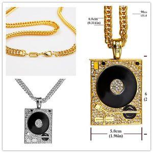 friendly gift DJ Phonograph Big Pendant Necklace Men Jewelry Hiphop Chain Gold Silver Color Music Hip Hop Rock Rap Necklaces Men Jewellery