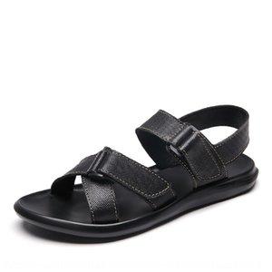 Verano y zapatos de cuero de los hombres de cuero genuino transpirable conducción casuales sandalias sandalias antideslizantes