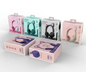 Симпатичные дети Bluetooth наушники 5,0 LED свет Cat Ear Headset Stereo Bass Беспроводные наушники HiFi наушники с микрофоном